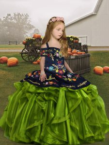 High Class Organza Sleeveless Floor Length Pageant Dress for Girls and Embroidery and Ruffles