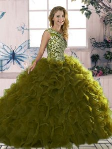 Excellent Olive Green Sleeveless Floor Length Beading and Ruffles Lace Up Sweet 16 Dresses
