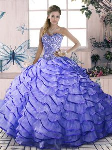 Low Price Sweetheart Sleeveless Organza Vestidos de Quinceanera Beading and Ruffled Layers Brush Train Lace Up