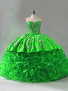 Glittering Lace Up Sweetheart Embroidery and Ruffles Vestidos de Quinceanera Fabric With Rolling Flowers Sleeveless Brush Train