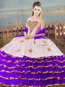 White And Purple Sleeveless Organza Lace Up Ball Gown Prom Dress for Sweet 16 and Quinceanera
