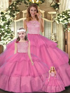 Sweet Floor Length Zipper Quinceanera Gown Hot Pink for Military Ball and Sweet 16 and Quinceanera with Lace and Ruffled Layers