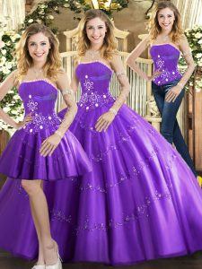 Purple Sleeveless Tulle Lace Up Sweet 16 Dress for Sweet 16 and Quinceanera
