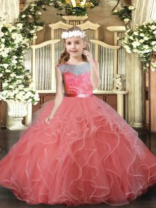 Scoop Sleeveless Backless Pageant Gowns For Girls Watermelon Red Tulle