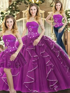 Enchanting Purple Tulle Lace Up Strapless Sleeveless Floor Length 15 Quinceanera Dress Beading and Ruffles