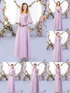 Exceptional Lavender Half Sleeves Tulle Side Zipper Dama Dress for Wedding Party