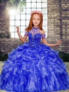 Modern Blue Ball Gowns Organza Halter Top Sleeveless Beading and Ruffles Floor Length Lace Up Little Girls Pageant Gowns