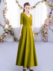Olive Green Empire V-neck Half Sleeves Satin Ankle Length Zipper Ruching Quinceanera Dama Dress