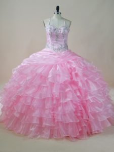 Sophisticated Floor Length Lace Up Quinceanera Gown Baby Pink for Sweet 16 and Quinceanera with Embroidery and Ruffled Layers