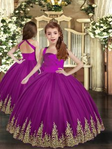 Popular Sleeveless Tulle Asymmetrical Lace Up Girls Pageant Dresses in Purple with Embroidery