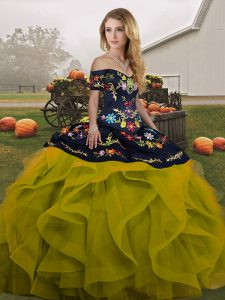 Cheap Sleeveless Lace Up Floor Length Embroidery and Ruffles Quinceanera Gowns