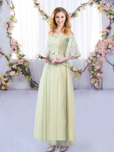 Beautiful Floor Length Empire Half Sleeves Yellow Green Court Dresses for Sweet 16 Side Zipper