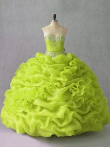 Stylish Yellow Green Sleeveless Organza Lace Up Vestidos de Quinceanera for Sweet 16 and Quinceanera