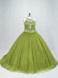 Scoop Sleeveless Brush Train Lace Up Quinceanera Gown Olive Green Tulle