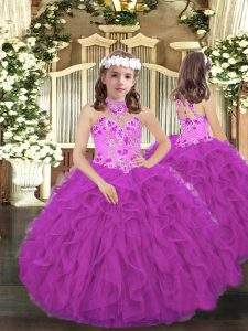 Purple Lace Up Halter Top Embroidery and Ruffles Little Girls Pageant Dress Tulle Sleeveless