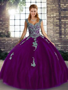 Floor Length Purple Quinceanera Gowns Tulle Sleeveless Beading and Appliques