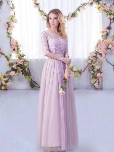 Captivating Lavender Tulle Side Zipper V-neck Half Sleeves Floor Length Damas Dress Lace and Belt