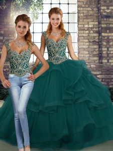 Hot Selling Sleeveless Tulle Floor Length Lace Up Sweet 16 Dress in Peacock Green with Beading and Ruffles