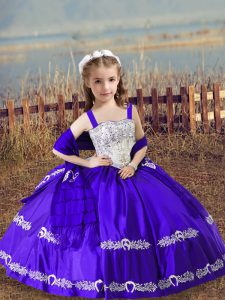 Exceptional Purple Pageant Gowns For Girls Wedding Party with Beading and Embroidery Straps Sleeveless Lace Up