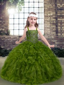 Dazzling Olive Green Lace Up Pageant Dress Toddler Beading and Ruffles Sleeveless Floor Length