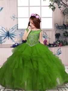 Sleeveless Zipper Floor Length Beading and Ruffles Kids Pageant Dress