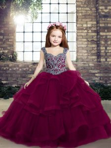 Eye-catching Fuchsia Ball Gowns Straps Sleeveless Tulle Floor Length Lace Up Beading and Ruffles Pageant Gowns For Girls