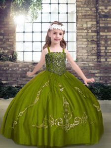 Romantic Straps Sleeveless Lace Up Child Pageant Dress Olive Green Tulle