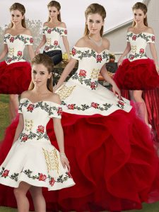 Affordable Sleeveless Floor Length Embroidery and Ruffles Lace Up Vestidos de Quinceanera with White And Red