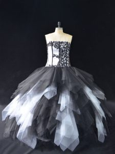 Super White And Black Sleeveless Floor Length Lace and Ruffles Lace Up Quinceanera Dress
