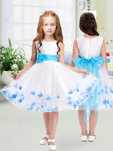 Custom Made White Scoop Neckline Appliques and Belt Pageant Dress Wholesale Sleeveless Zipper