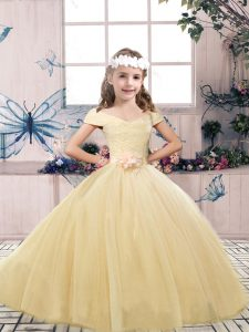 Floor Length Champagne Kids Formal Wear Off The Shoulder Sleeveless Lace Up
