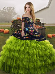 High Class Floor Length Olive Green Quinceanera Gown Organza Sleeveless Embroidery and Ruffled Layers