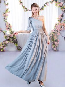 Floor Length Grey Quinceanera Court Dresses One Shoulder Sleeveless Lace Up
