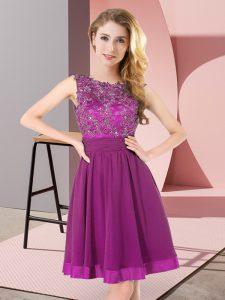 Low Price Empire Dama Dress Purple Scoop Chiffon Sleeveless Mini Length Backless