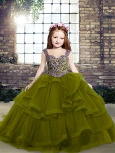 Sleeveless Floor Length Beading and Ruffles Lace Up Kids Pageant Dress with Olive Green