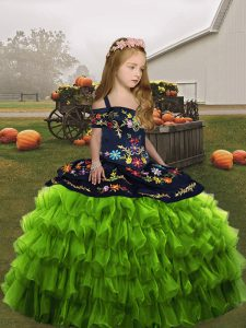 Ball Gowns Winning Pageant Gowns Olive Green Straps Organza Sleeveless Floor Length Lace Up