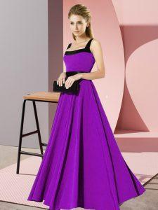 Sleeveless Zipper Floor Length Belt Dama Dress for Quinceanera