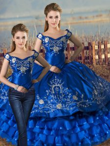Royal Blue Off The Shoulder Lace Up Embroidery and Ruffled Layers Quinceanera Dresses Sleeveless