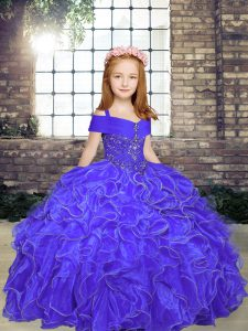 Simple Purple Organza Lace Up Straps Sleeveless Floor Length Little Girl Pageant Gowns Beading and Ruffles