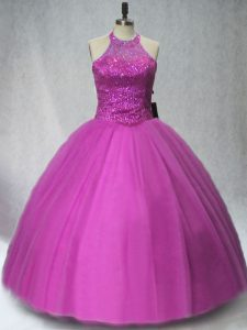 Elegant Sleeveless Tulle Floor Length Lace Up Quinceanera Dresses in Purple with Beading