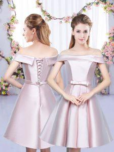 Great Baby Pink Satin Lace Up Off The Shoulder Sleeveless Floor Length Vestidos de Damas Bowknot