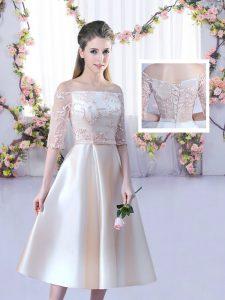Champagne Half Sleeves Lace and Belt Tea Length Damas Dress