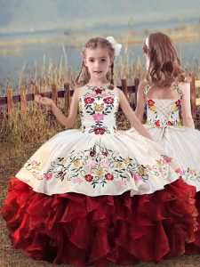 White And Red Scoop Neckline Embroidery and Ruffles Little Girls Pageant Dress Wholesale Sleeveless Lace Up