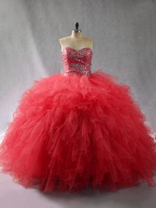 Exquisite Sleeveless Beading and Ruffles Lace Up Quince Ball Gowns