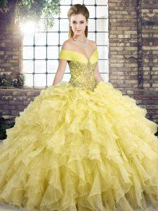 Amazing Sleeveless Brush Train Lace Up Beading and Ruffles Sweet 16 Dress