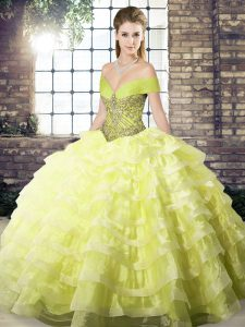 Simple Yellow Organza Lace Up Quinceanera Gown Sleeveless Brush Train Beading and Ruffled Layers