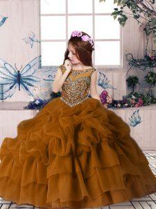 Custom Designed Brown Scoop Neckline Beading and Pick Ups Girls Pageant Dresses Sleeveless Zipper