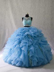 Sleeveless Beading and Ruffles Zipper 15 Quinceanera Dress with Blue Brush Train