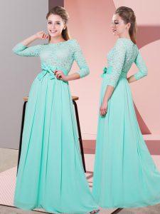 Apple Green 3 4 Length Sleeve Floor Length Lace and Belt Side Zipper Quinceanera Court Dresses