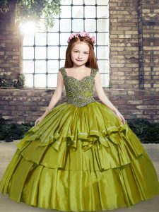Excellent Olive Green Ball Gowns Taffeta Straps Sleeveless Beading Floor Length Lace Up Pageant Dress Womens